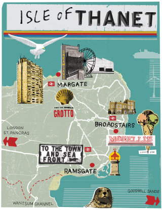 Isle Of Thanet Map Illustration