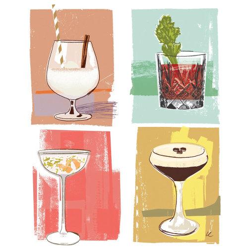 Ilustración de cócteles