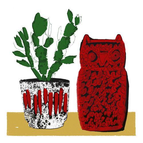 Retro illustration of owl and pot plant