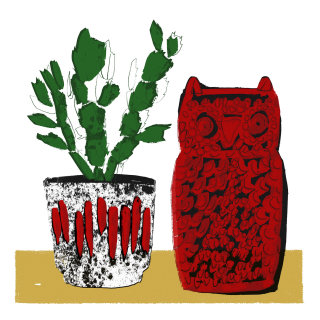 Retro illustration of owl and pot plant