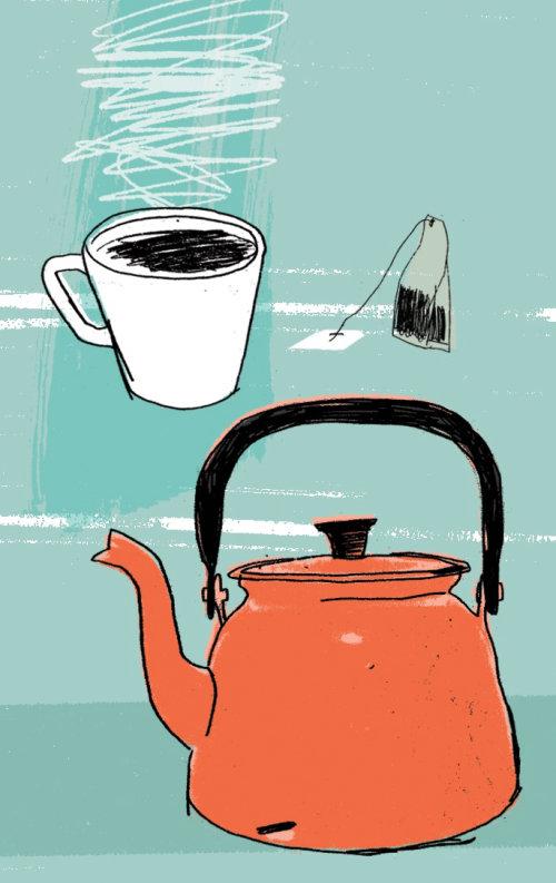 Boceto de tetera, taza de té y bolsita de té