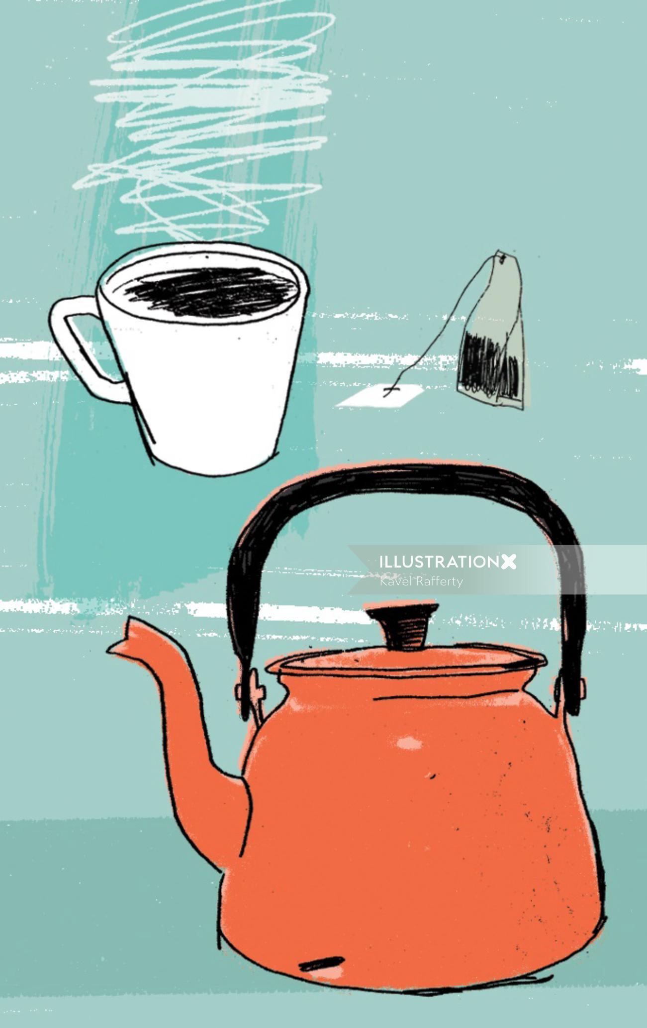 Sketch of teapot, teacup and teabag