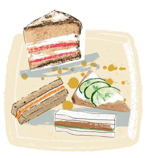 Ilustración de comida de postre en un plato