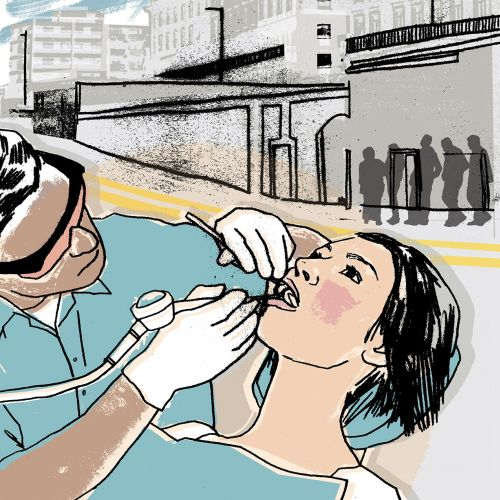 An illustration of dentist examining teeth