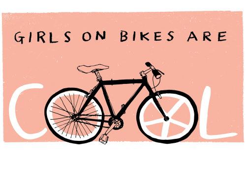 Las chicas en bicicleta son arte de tipografía genial