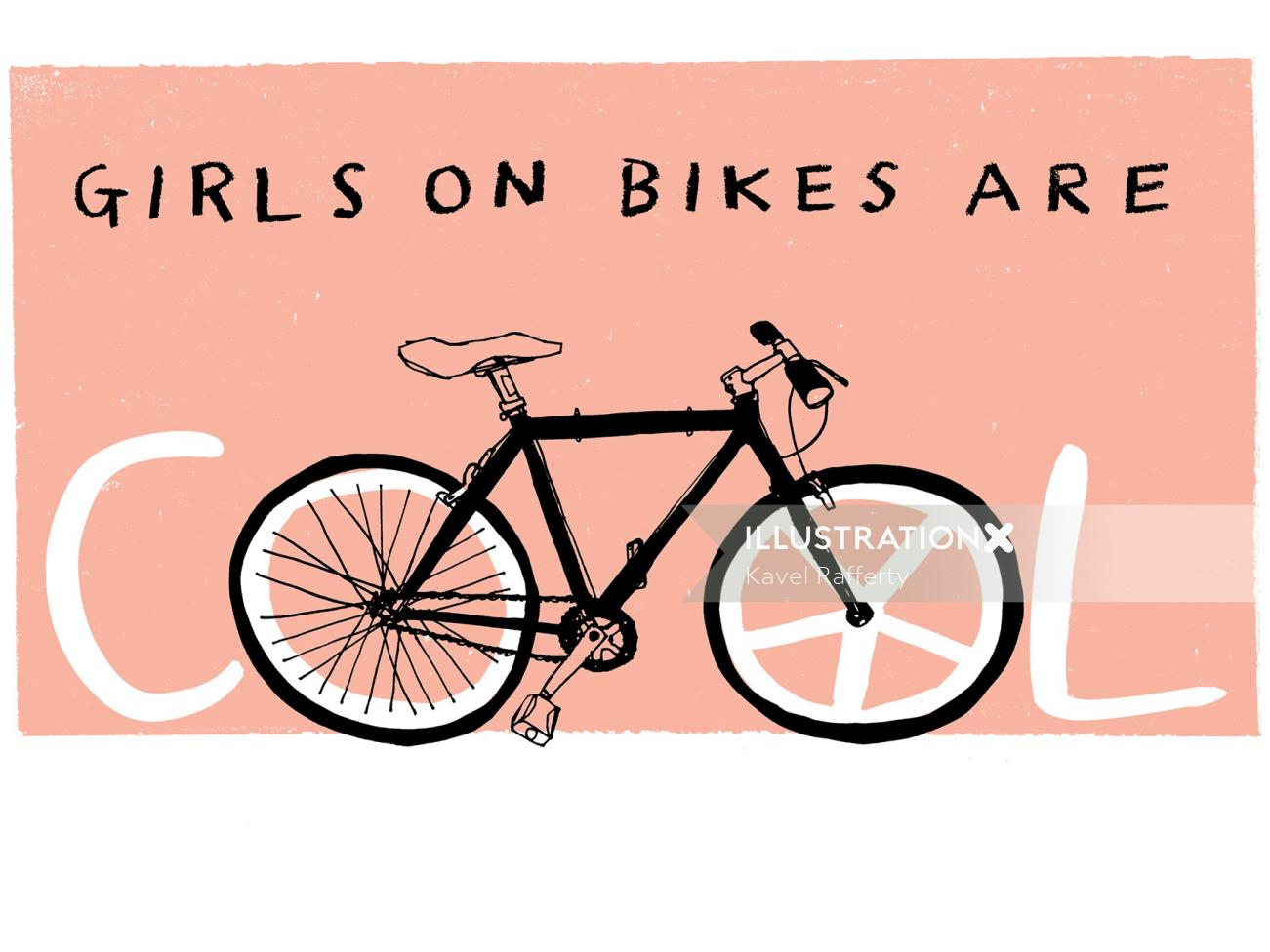 Girls on bikes are cool typography art