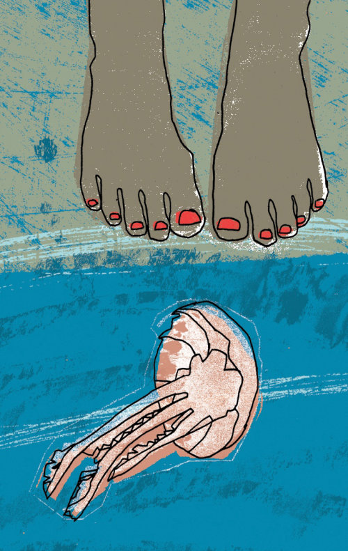 Ilustración de medusas y pies para la revista Simple Things