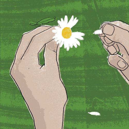 Flor en arte retro de manos