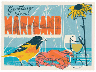 Food & Drink Illustration For Maryland Postcard