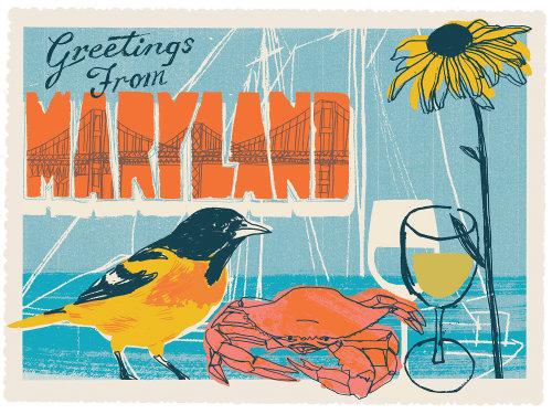 Ejemplo de la comida y de la bebida para la postal de Maryland