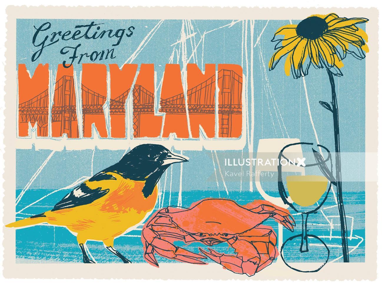 Food & Drink Illustration For Maryland Postcard