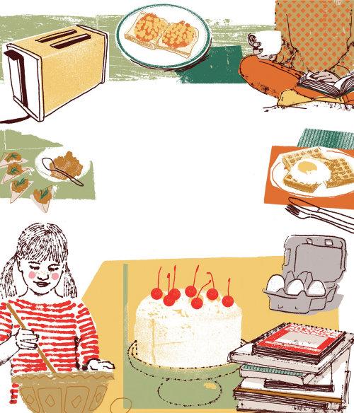 Dibujo de niña horneando comida