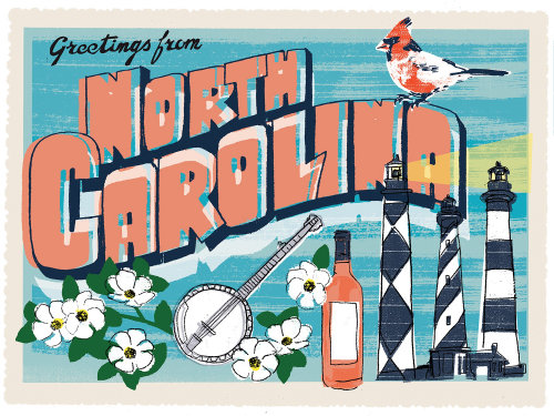 Diseño de la postal de Carolina del Norte por Kavel Rafferty Illustrator