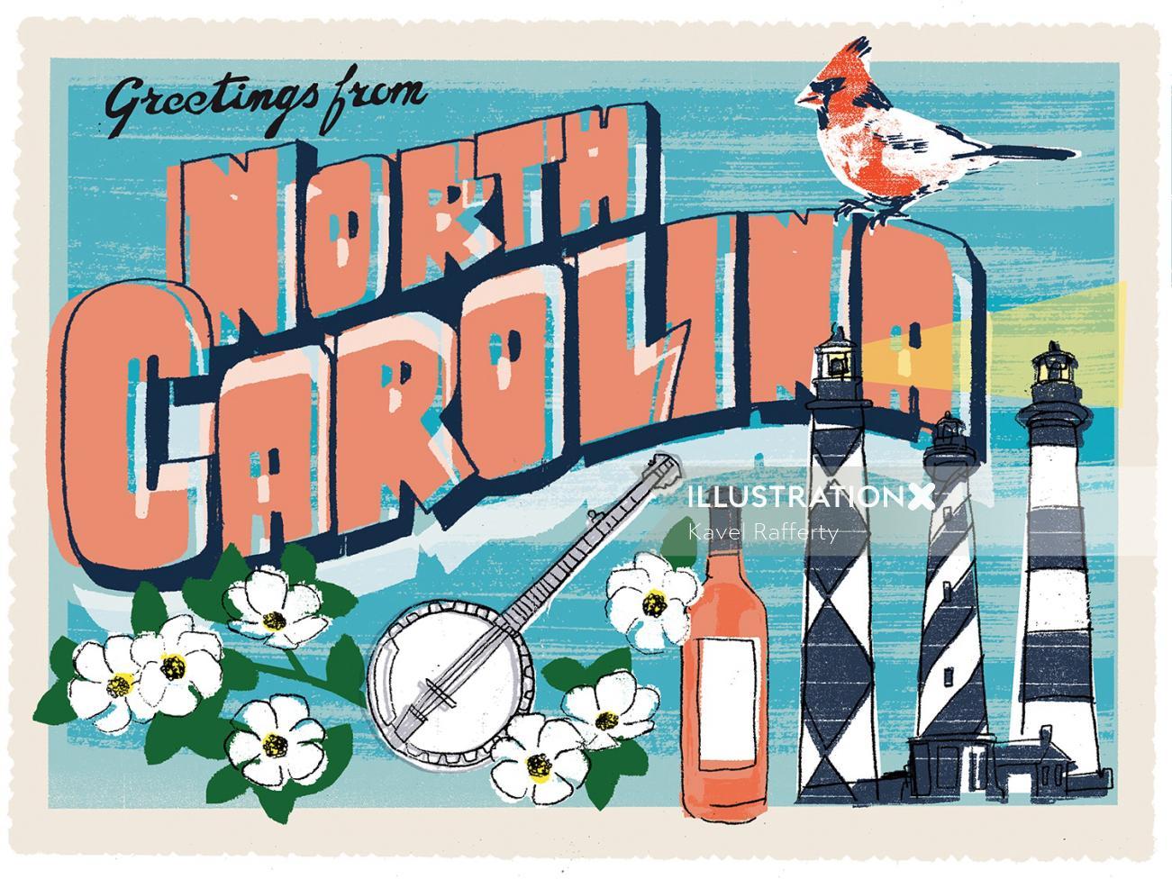 North Carolina Postcard Design By Kavel Rafferty Illustrator