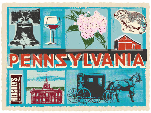 Pennsylvania postcard for the wine enthusiast US