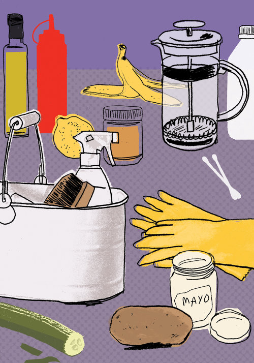 Cleaning with food illustration