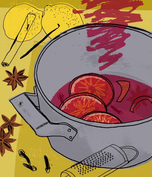 Preparing Fruit Punch Recipe food and drink illustration