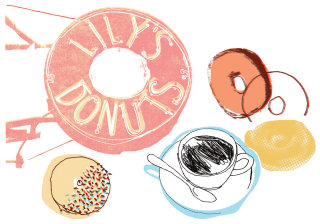 illustration of donuts and drink