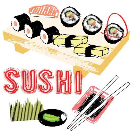 Food illustration of sushi and chopsticks