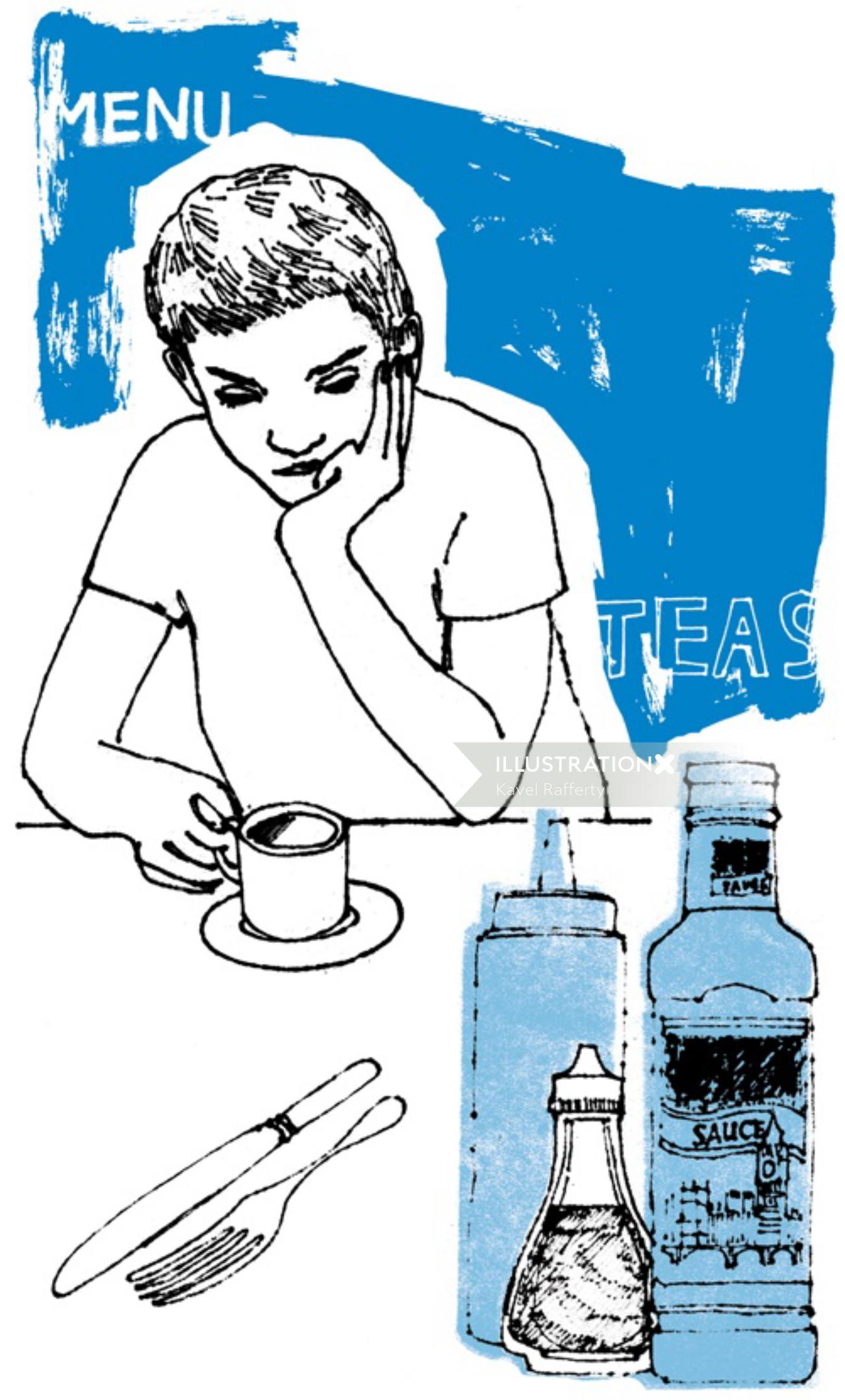 Line drawing of young man drinking tea