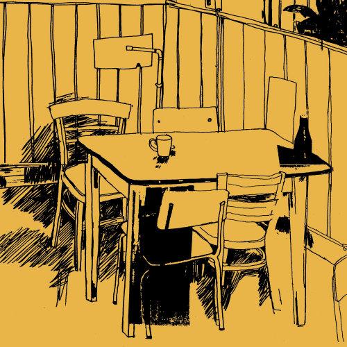 Line art de cafe mesa y sillas