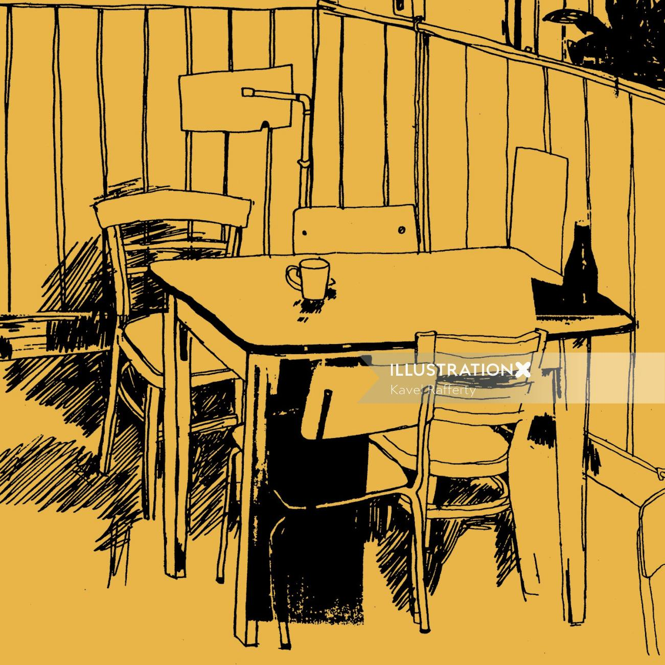 Line art of cafe table and chairs