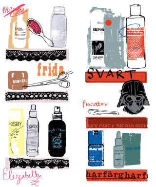 Vector art of hair beauty products