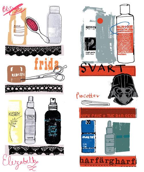 Arte vectorial de productos de belleza para el cabello