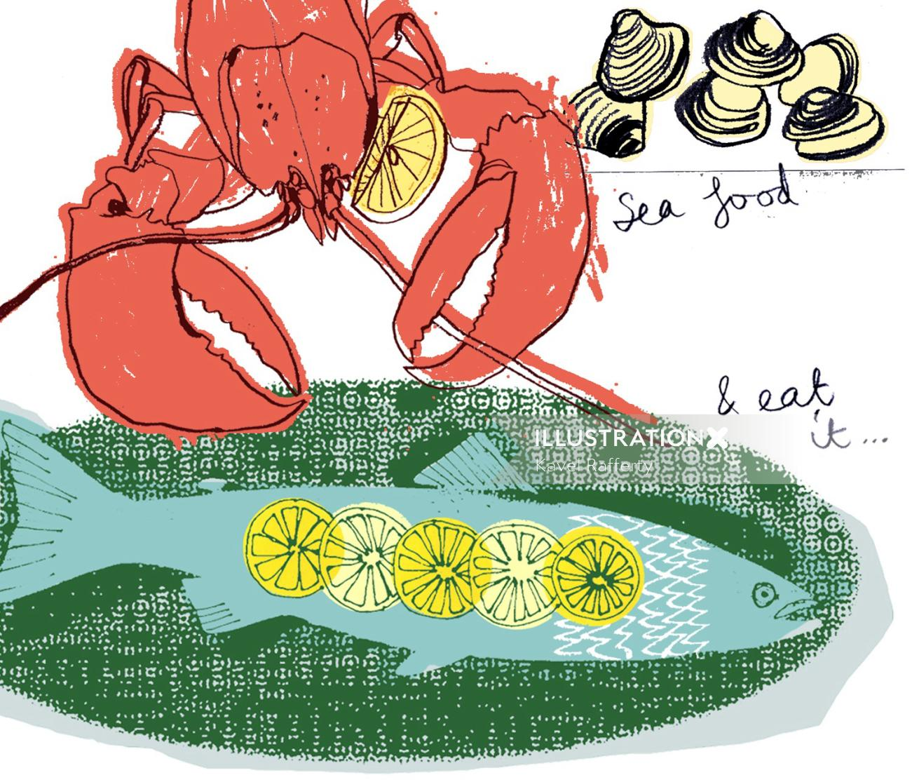 Hand drawing of seafood lobster