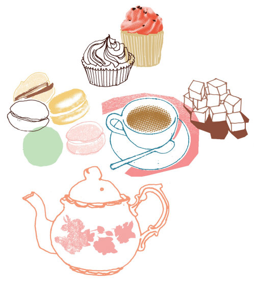 Illustration of tea, teapot and cupcakes