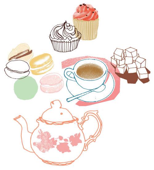 Ilustración de té, tetera y pastelitos