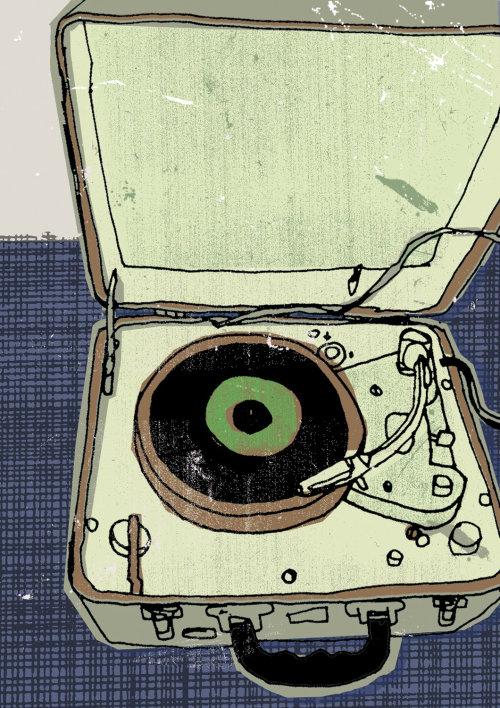 Ilustración del tocadiscos portátil vintage