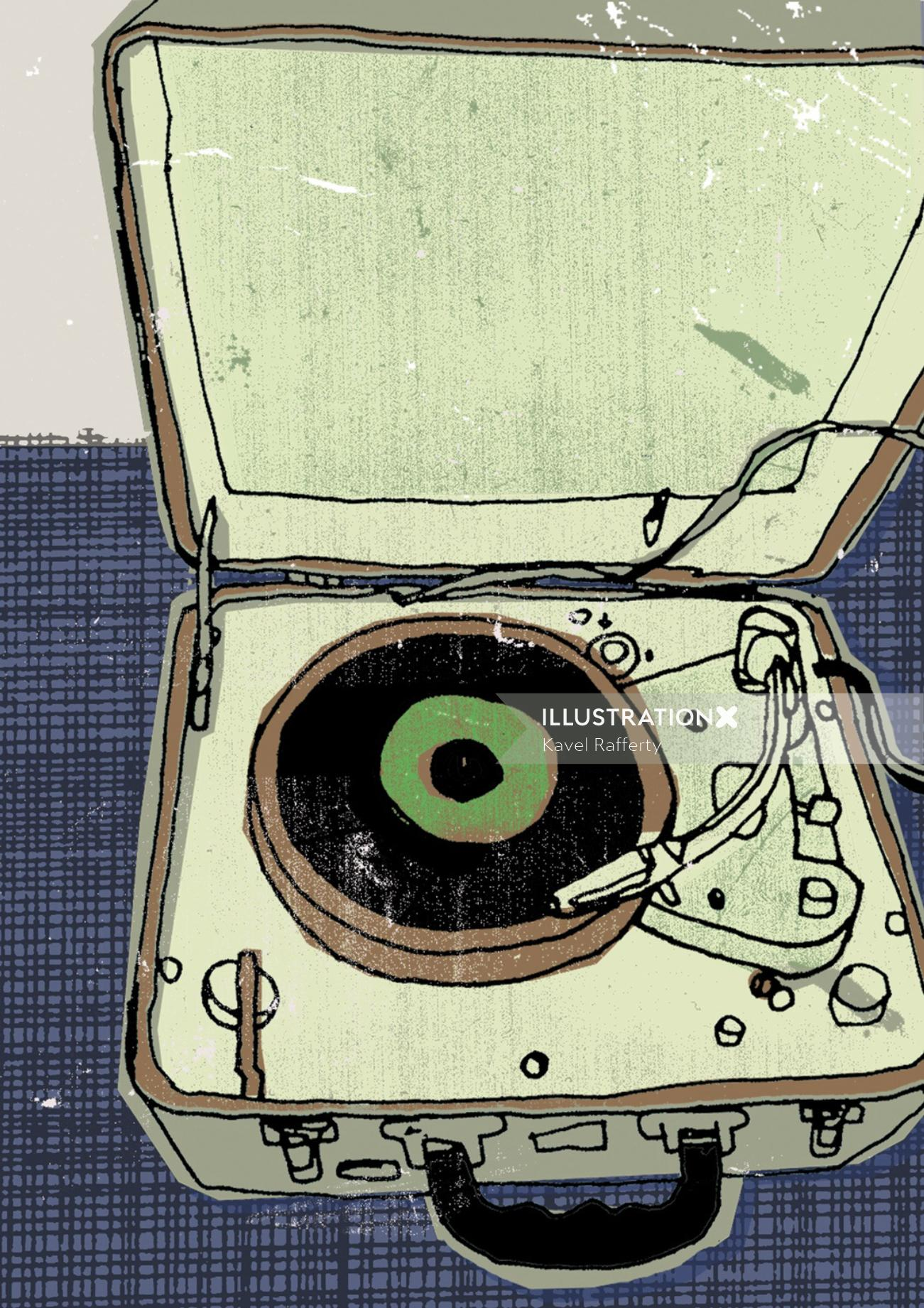 Illustration of vintage portable record player
