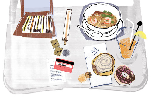 Ilustración de comida de aerolíneas por Kavel Rafferty