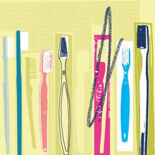 set of different type of toothbrushes