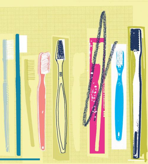 conjunto de diferentes tipos de cepillos de dientes