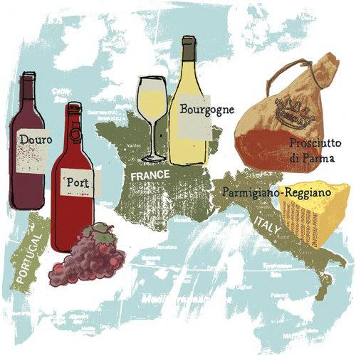 descubrir la ilustración del mapa de alimentos de origen