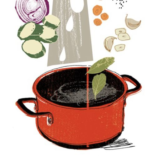 Line drawing of cooking pot with vegetables