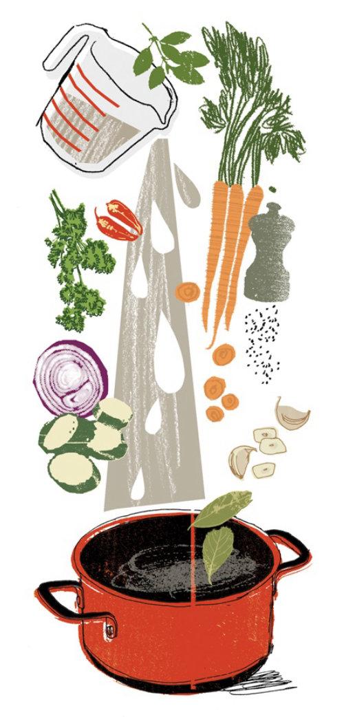 Dibujo lineal de olla con verduras