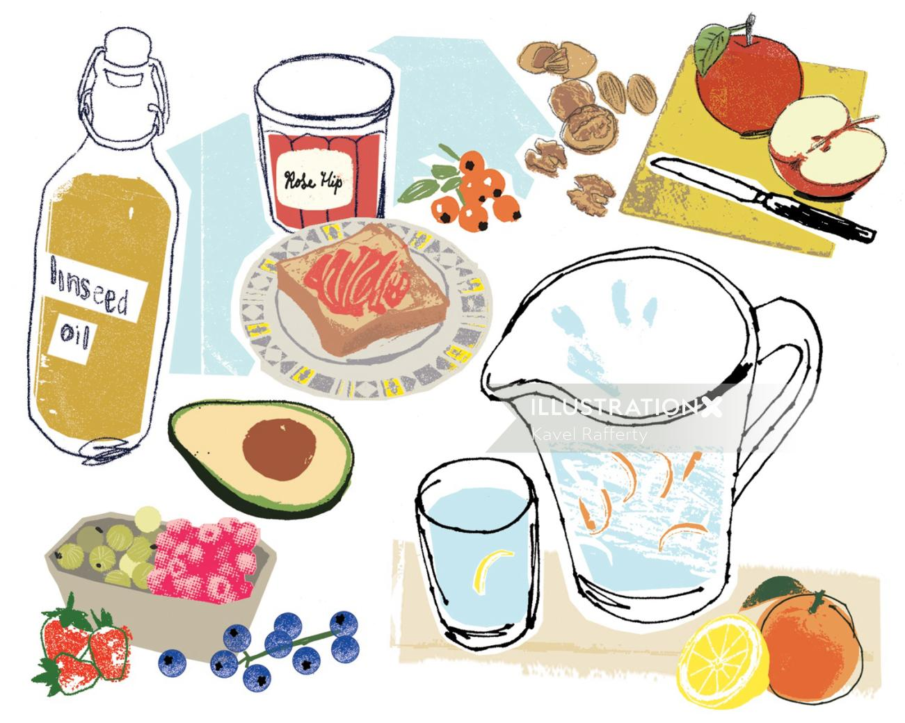 Healthy Foods Illustration