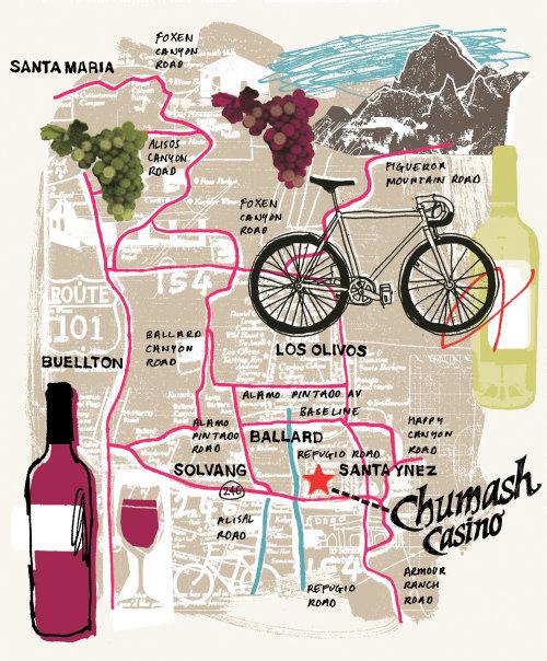 Mapa ilustrado de la ruta de la bicicleta del viñedo