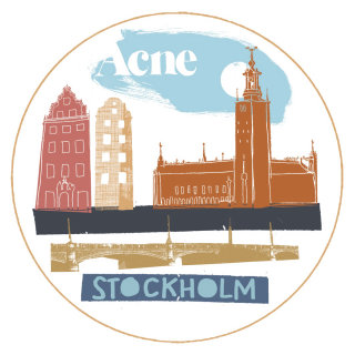 Retro Illustration Of Stockholm Tourist Places