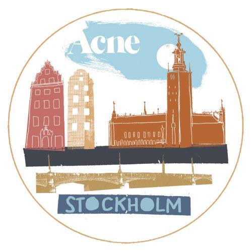 Ilustración retro de lugares turísticos de Estocolmo