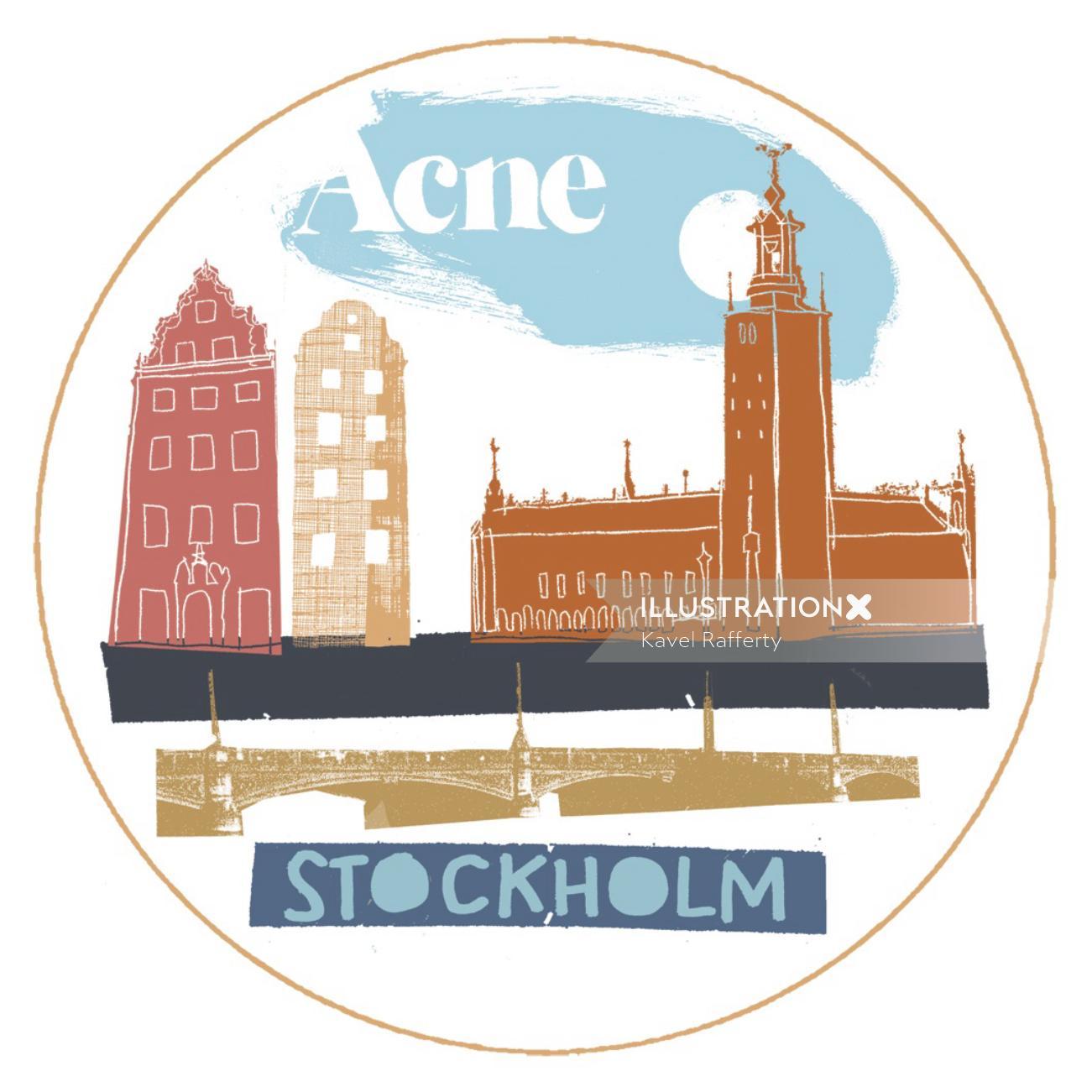 Retro Illustration Of Stockholm Tourist Places