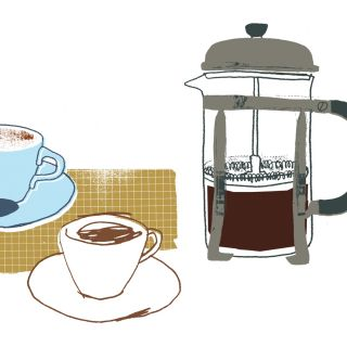 Coffee pot with cups - hand drawn