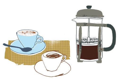 Cafetera con tazas - dibujado a mano
