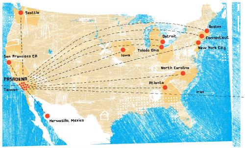 Mapa de EE.UU. Técnica mixta