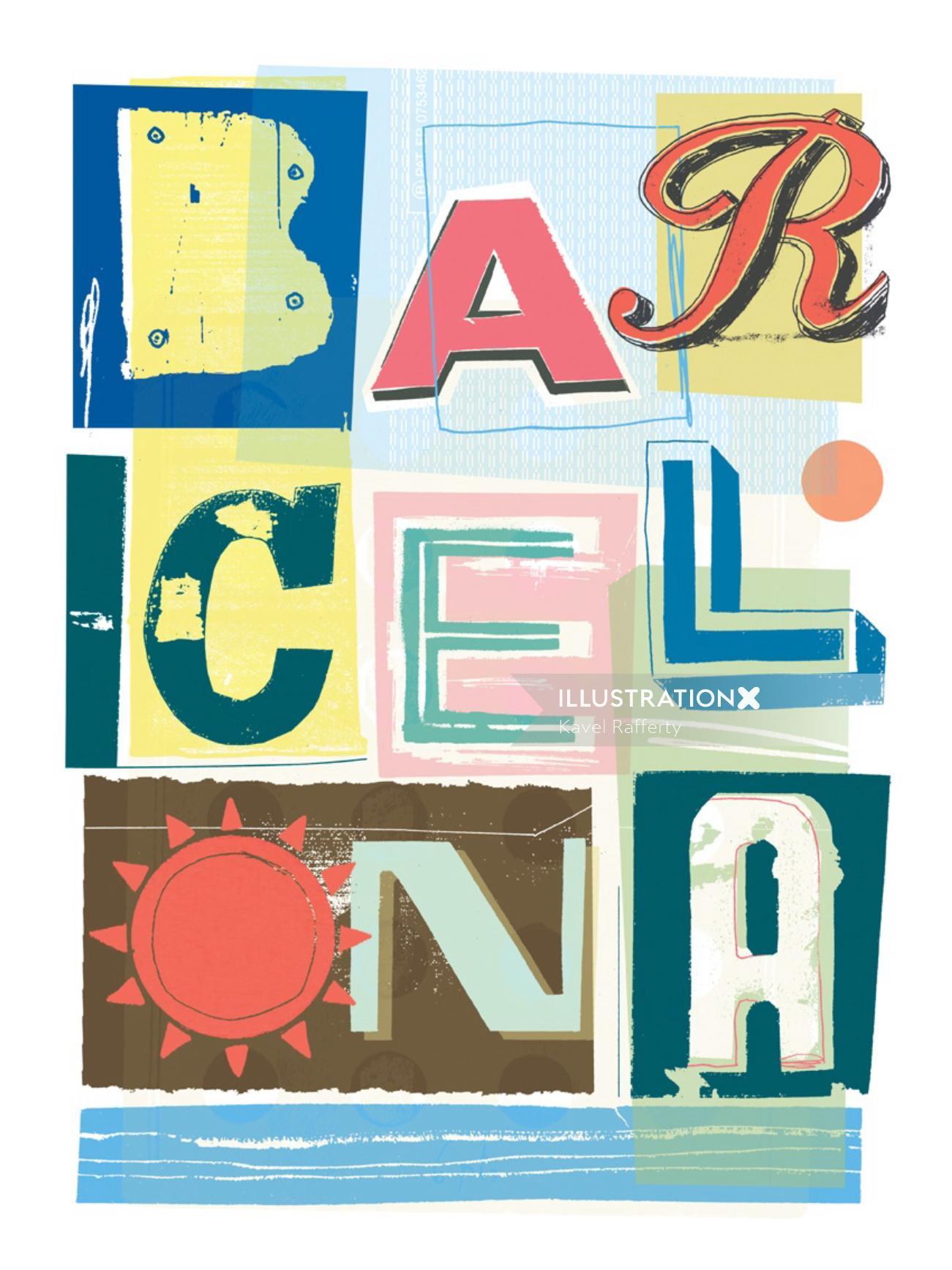 Typography Design Of Barcelona