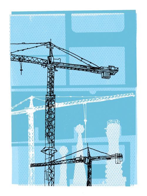 Construction industry Tower Crane illustration