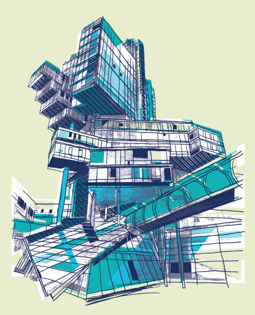 Dibujo Arquitectónico Para Norddeutsche Landesbank Hannover